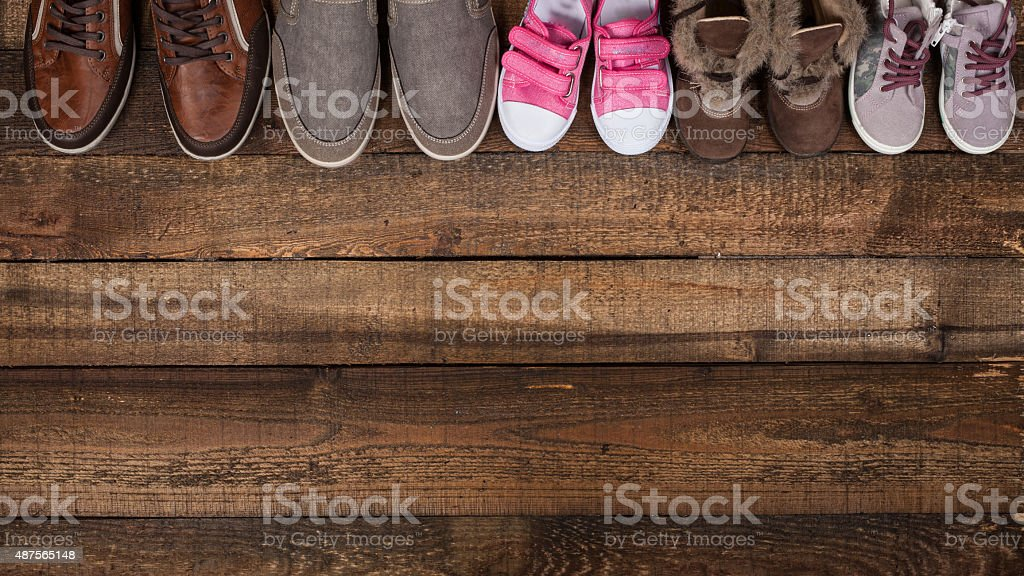 Various colourful footwear stock photo