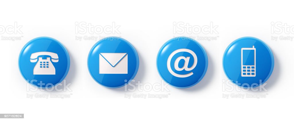 Various Contact Us Symbols On White Background Stock Photo More