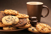 Various cookies and coffee