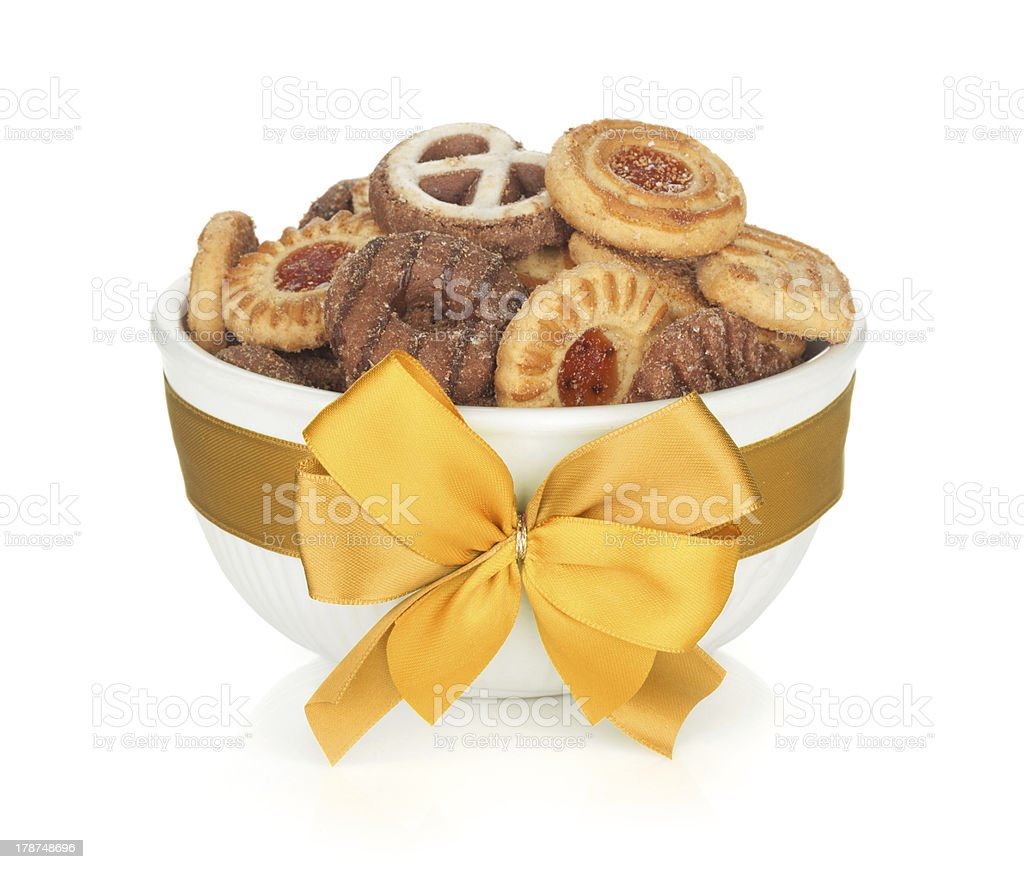 Various cookies in bowl royalty-free stock photo