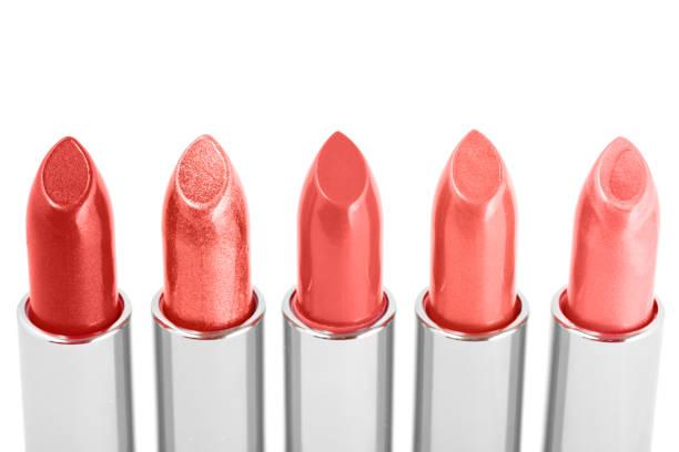 Various Coral Lipsticks stock photo