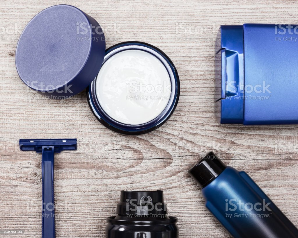 Various cosmetic products for men stock photo