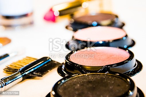 istock Various cosmetic set and makeup brush set / cosmetic and makeup brush set 827237294