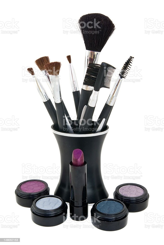 Various cosmetics with application brushes royalty-free stock photo