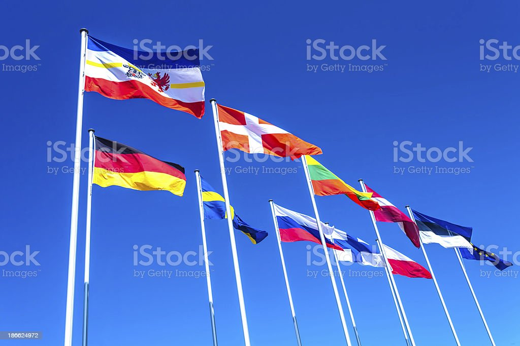 Various country flags from baltic countries stock photo