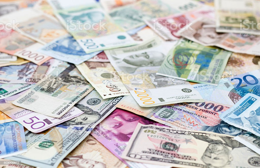 various currencies stock photo