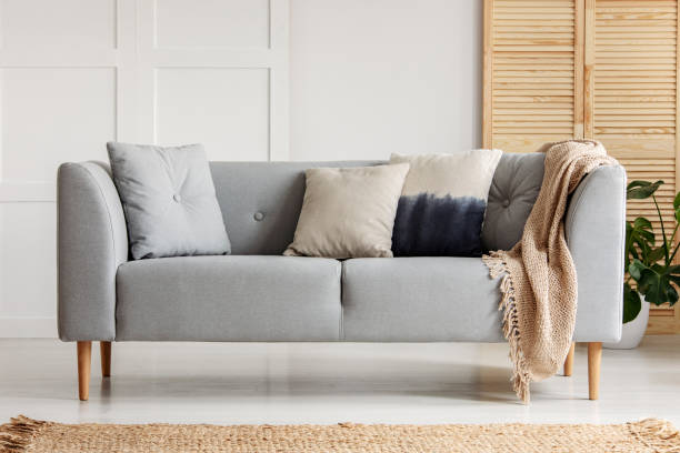 Various cushions on the sofa in stylish living room – zdjęcie