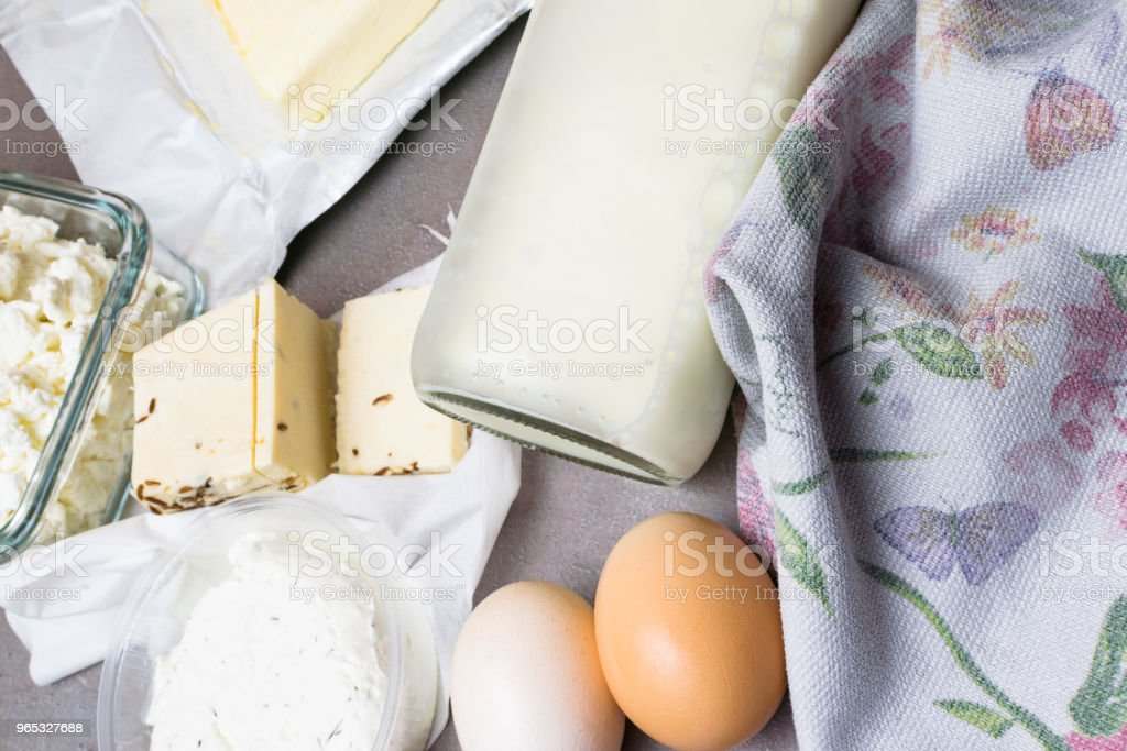 various dairy product on grey table with flower towel zbiór zdjęć royalty-free