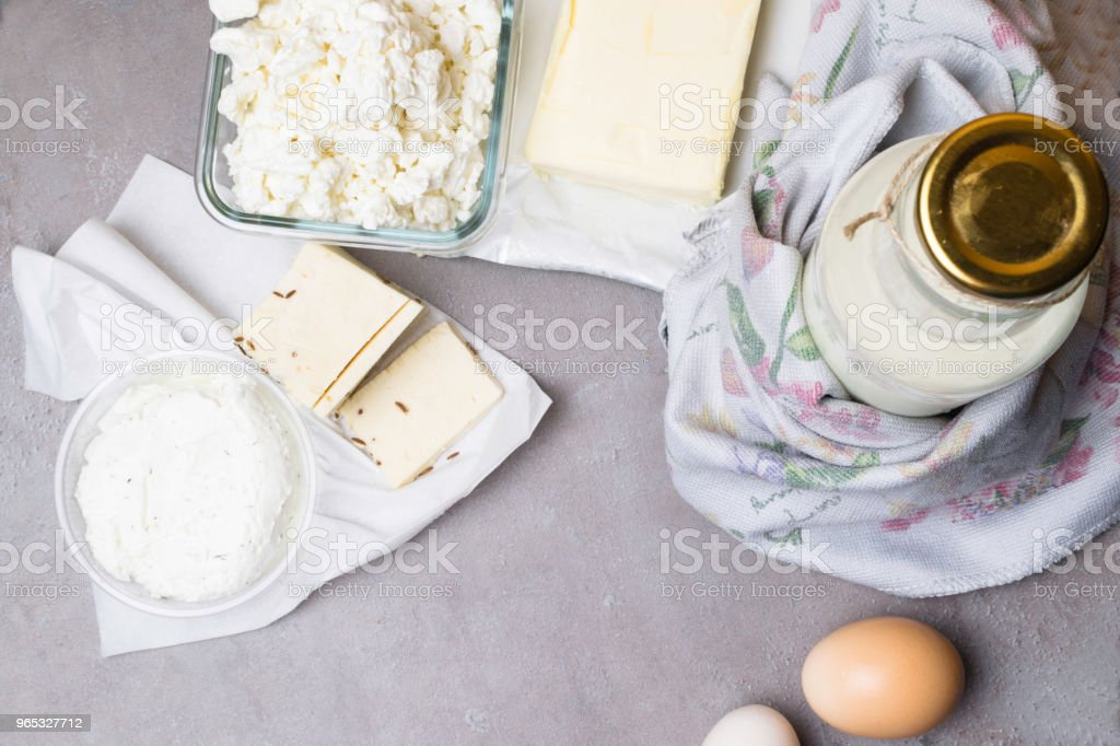 various dairy product on grey table with flower towel royalty-free stock photo