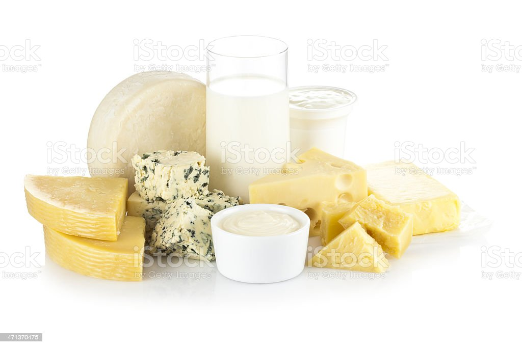 Various dairy products isolated on white backdrop royalty-free stock photo