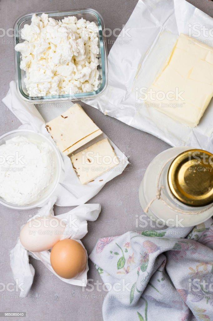 various dairy products on grey table zbiór zdjęć royalty-free