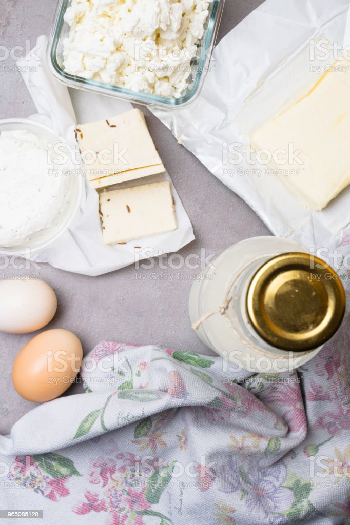 various dairy products on grey table royalty-free stock photo