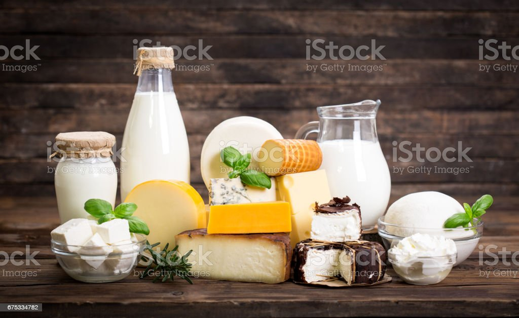 Various dairy products stock photo