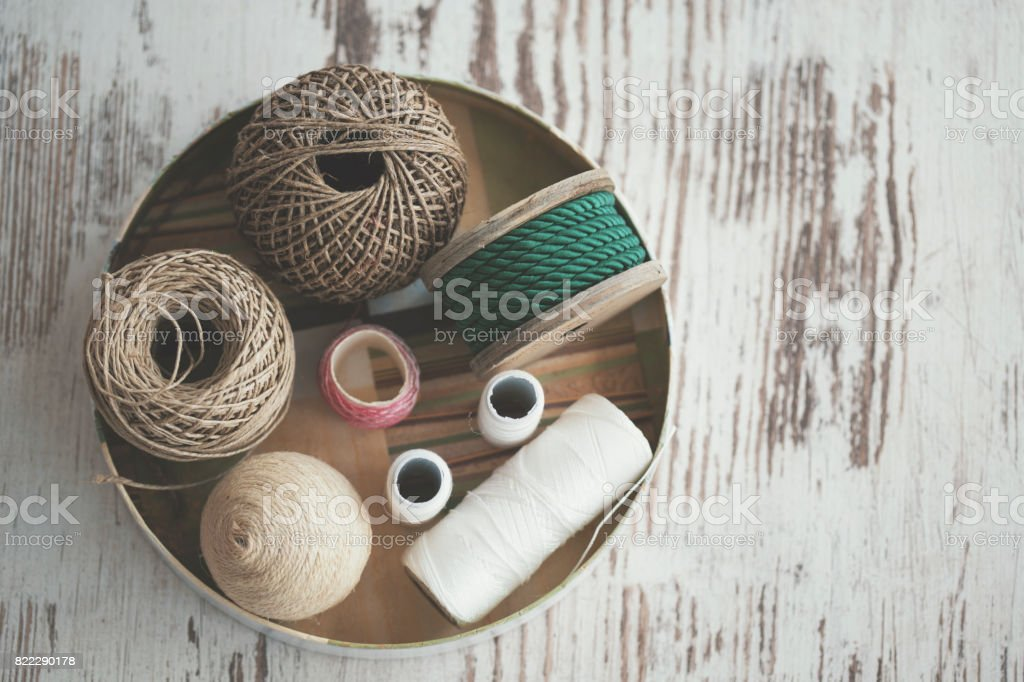 Various decorative ropes - knolling stock photo