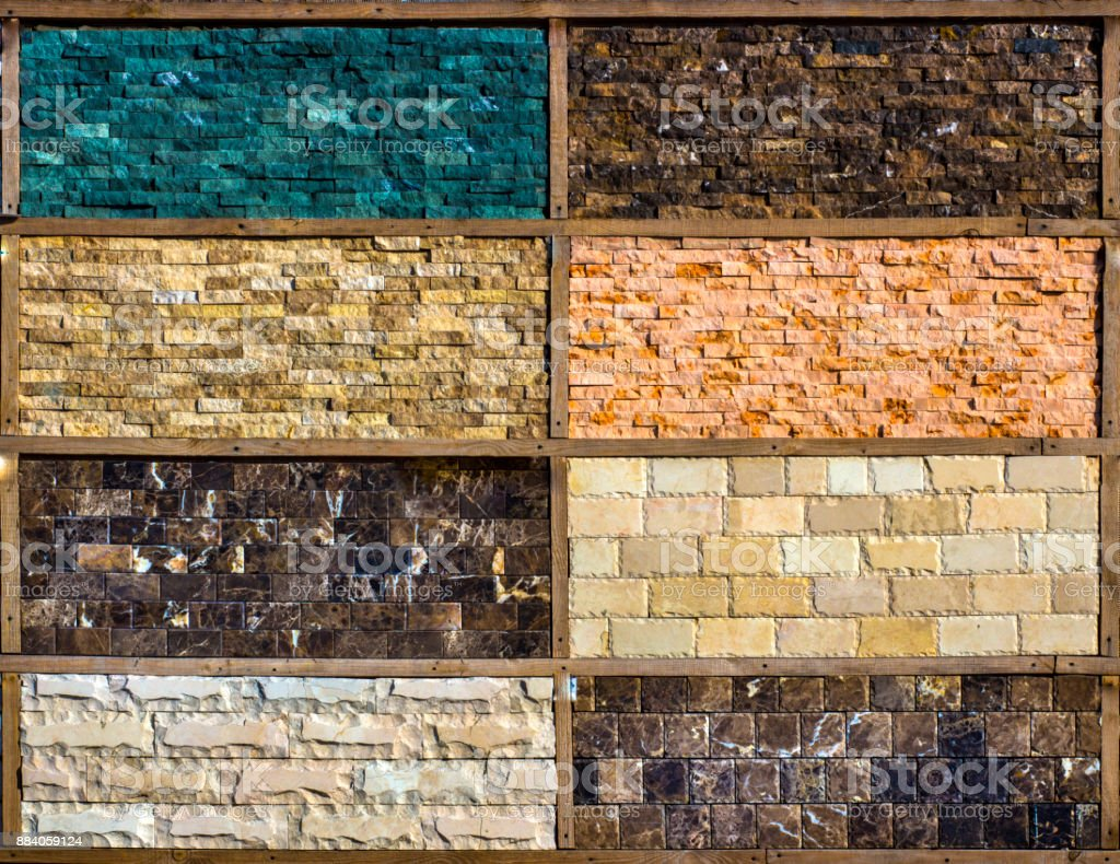 Various decorative tiles, and natural stone samples stock photo
