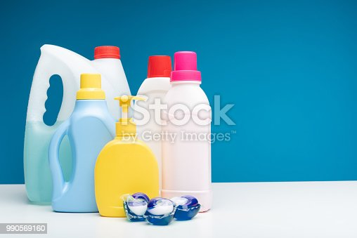 istock Various detergents put on white table 990569160