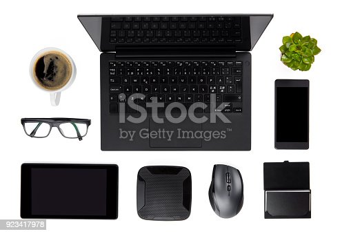 istock Various Devices Arranged On Isolated White Background 923417978