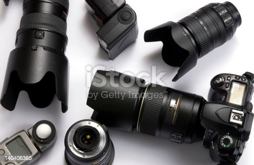 The tools of the trade for a professional photographer.