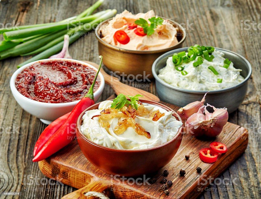various dip sauces stock photo