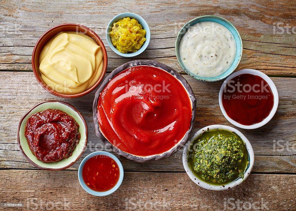 various dip sauces - 免版稅住宅廚房圖庫照片