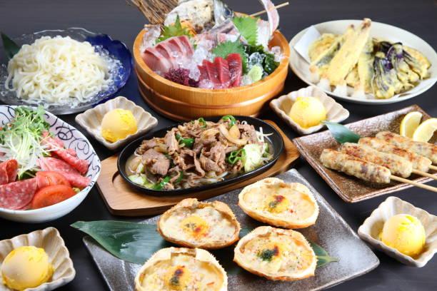 日本の居酒屋メニューの様々 な料理 - 日本食 ストックフォトと画像