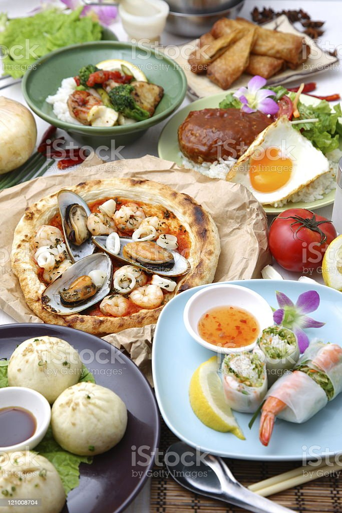 Various dishes of the world royalty-free stock photo