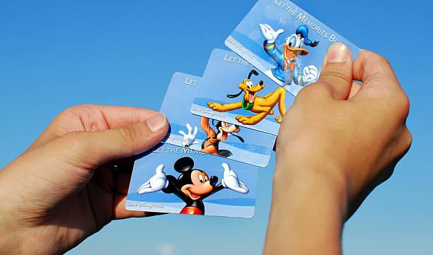 Various Disney World Admittance Cards stock photo