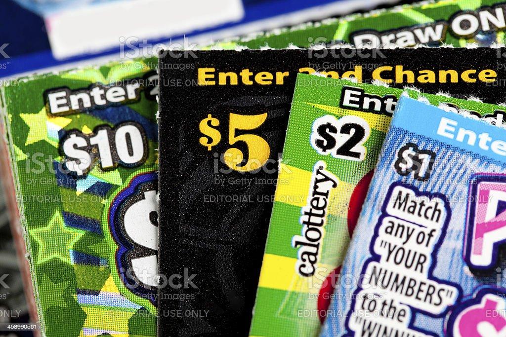 various dollar amount lottery royalty-free stock photo