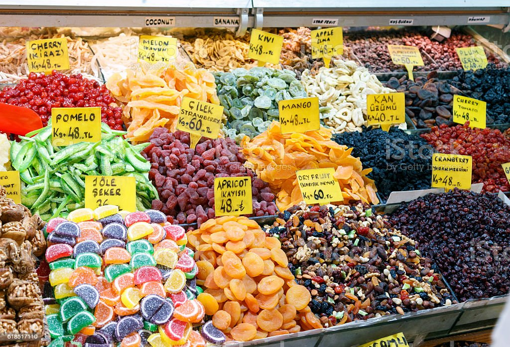 Various dried fruits on the Grand Bazaar ,Istanbul, Turkey. stock photo