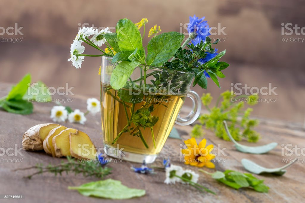 Various dried meadow herbs and herbal tea on old wooden table. fresh medicinal plants and in bundle. Preparing medicinal plants for phytotherapy and health promotion stock photo