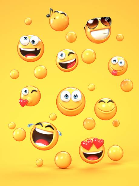 various emojis on yellow background - emoticons stock photos and pictures