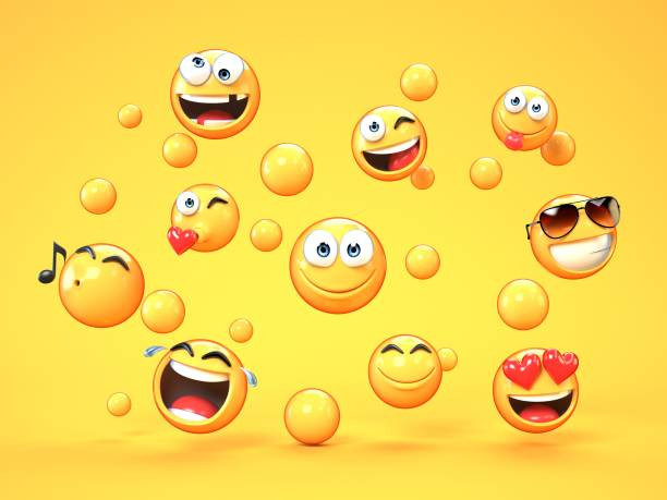 various emojis on yellow background - emoji foto e immagini stock