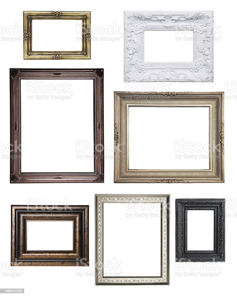 Various empty classical frame collections stock photo