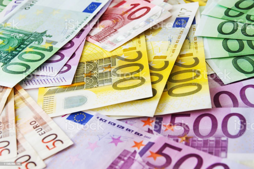 Various Euro banknotes close up Euro paper currency background Advice Stock Photo