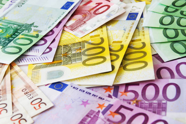 Various Euro banknotes close up Euro paper currency background european currency stock pictures, royalty-free photos & images