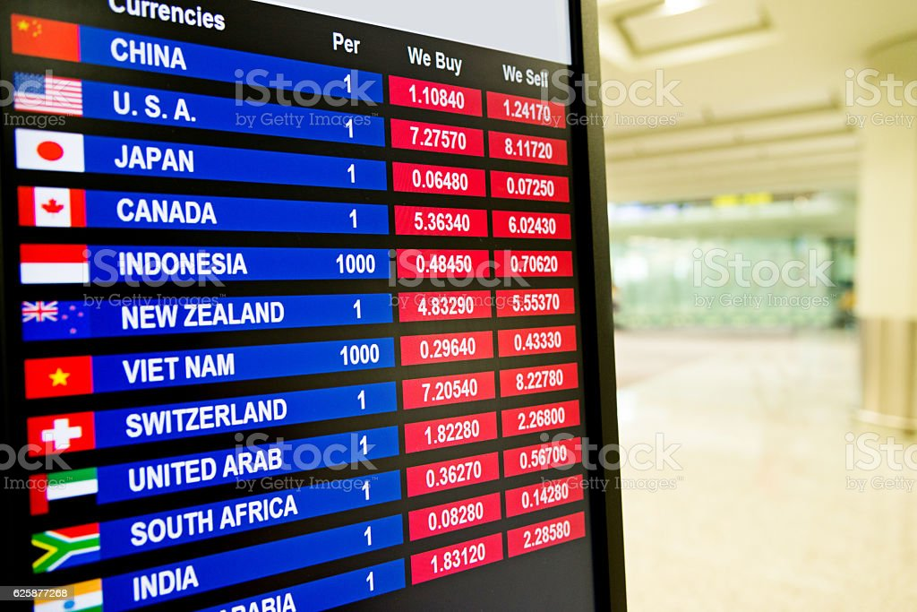 Various exchange rates on board stock photo
