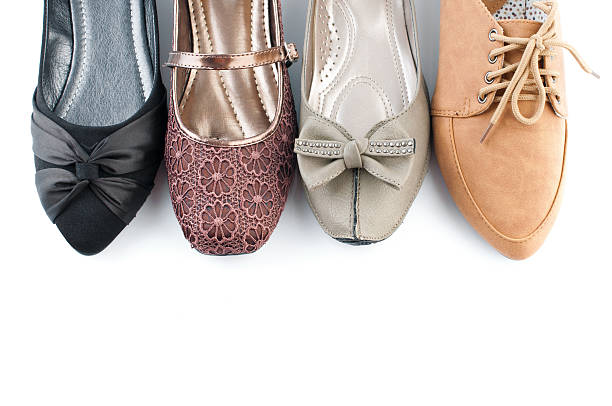 various female flat shoes - flat shoe stock photos and pictures