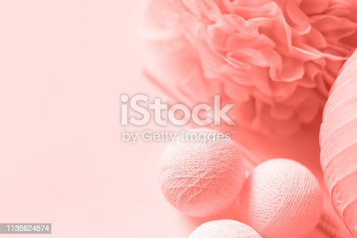istock Various festive paper decor in pink color on white background. Free copy space. Wedding of birthday celebration concept. 1135624574
