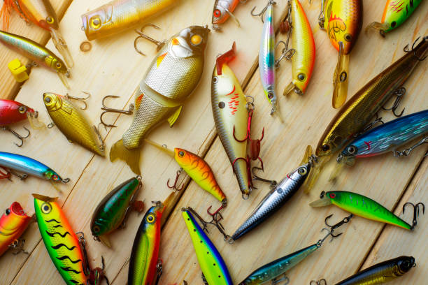 Various fishing lures sport equipment on the wooden background.
