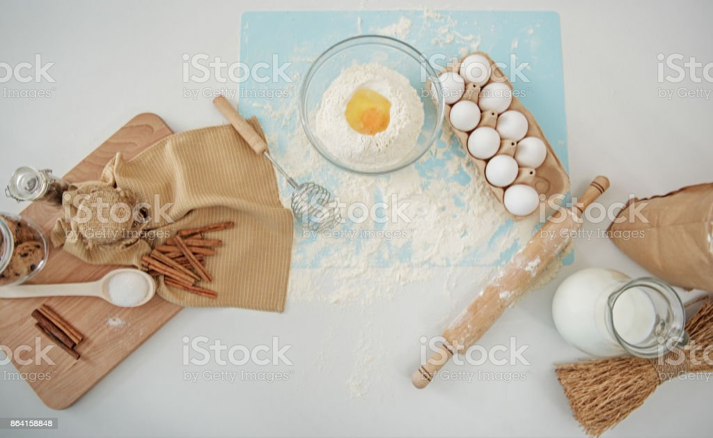 Various food ingredients for making pastry dough royalty-free stock photo