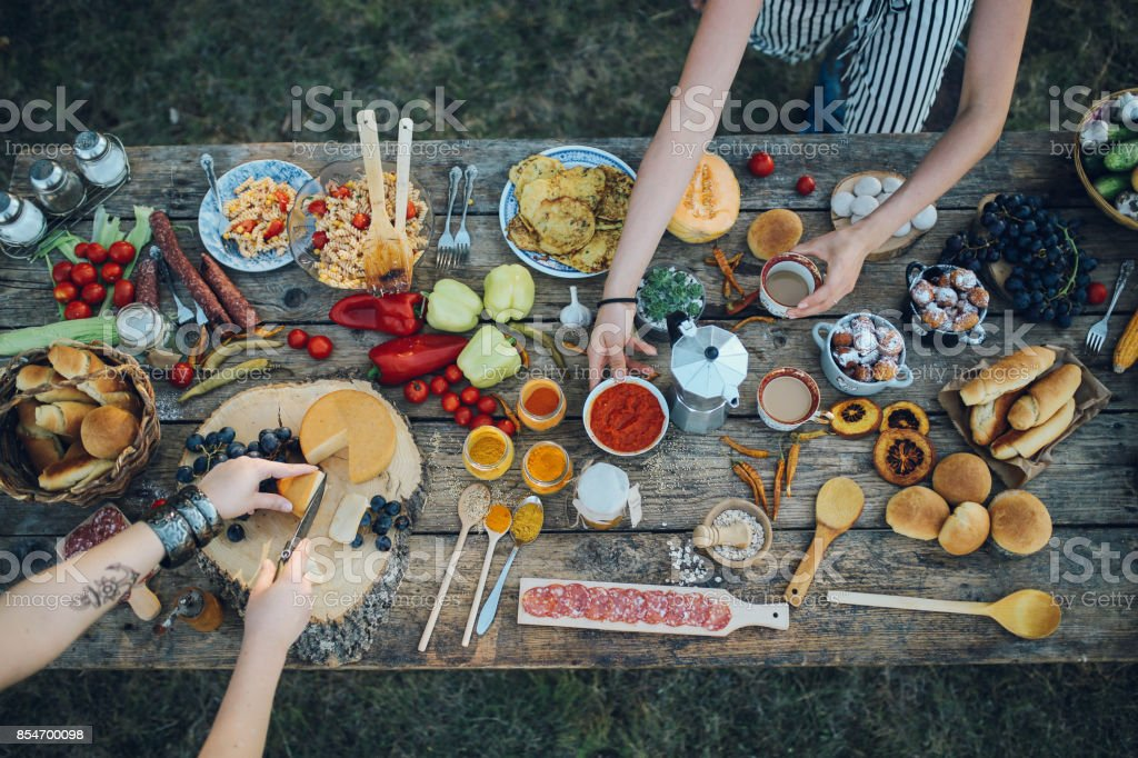 Various food on the old wooden table