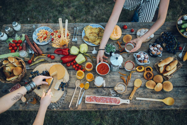 Various food on the old wooden table stock photo