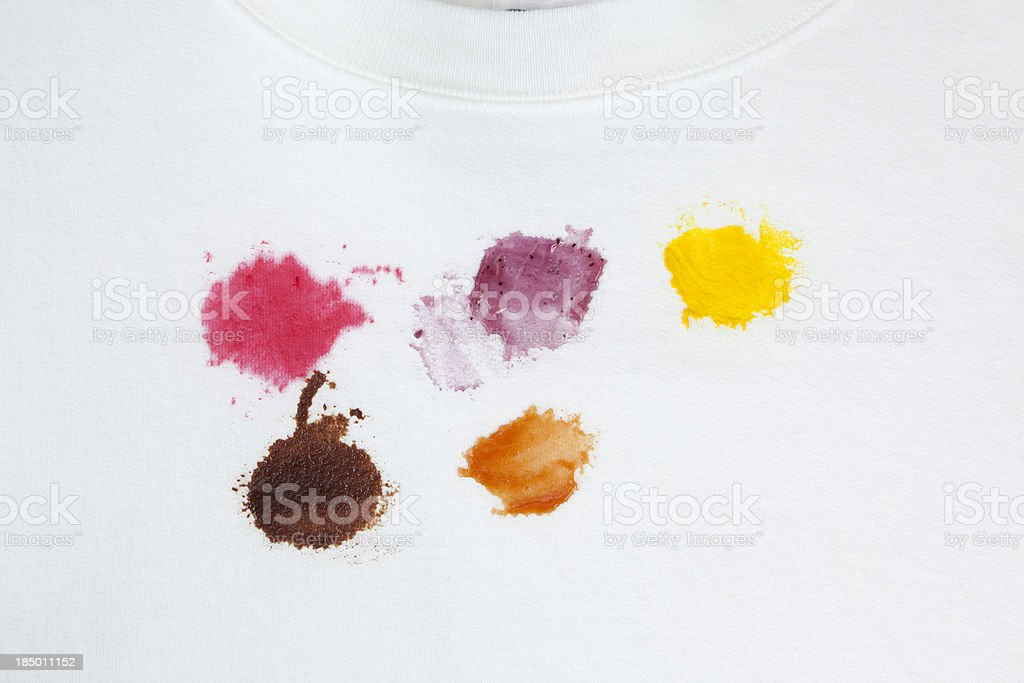 Various Food Stains on a White Cotton Sweatshirt stock photo