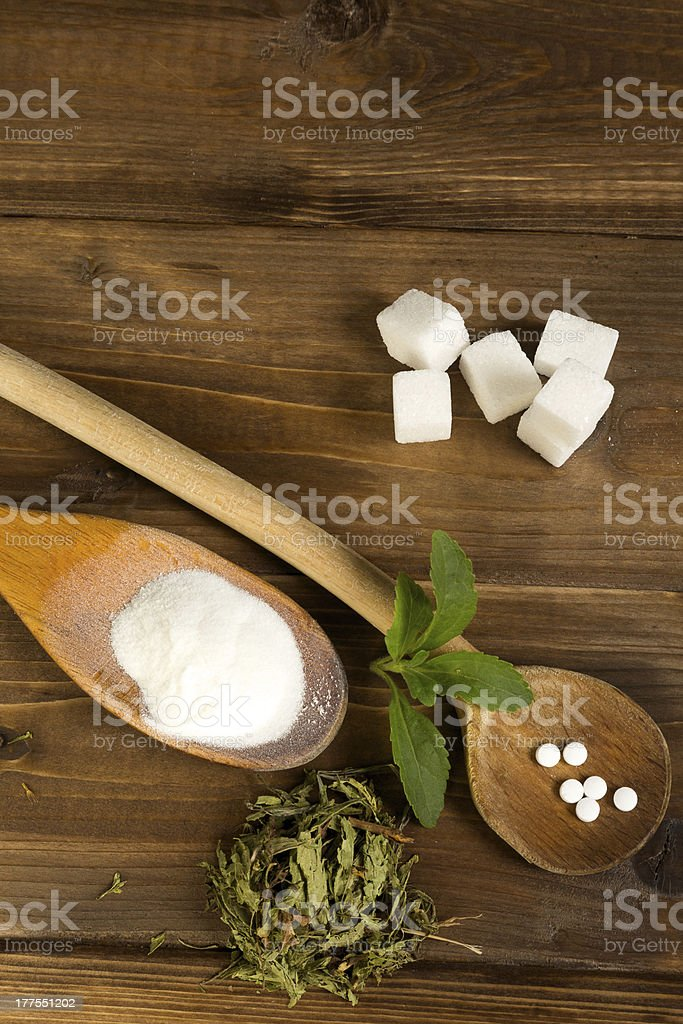 Various forms of stevia sweetener royalty-free stock photo