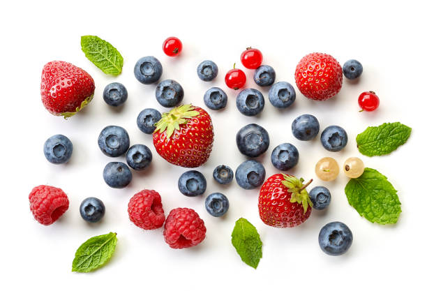 various fresh berries - berry stock photos and pictures