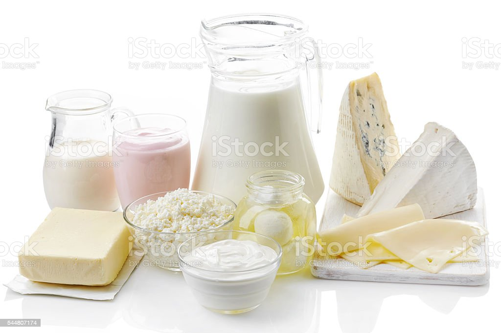 Various fresh dairy products stock photo