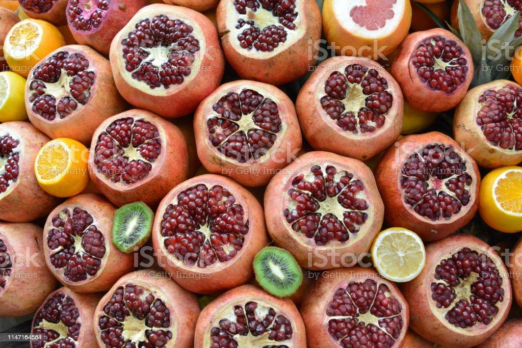 Pomegranates, oranges, grapefruits, tangerines, kiwi
