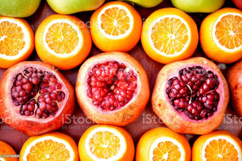 Pomegranates, oranges, grapefruits, apples