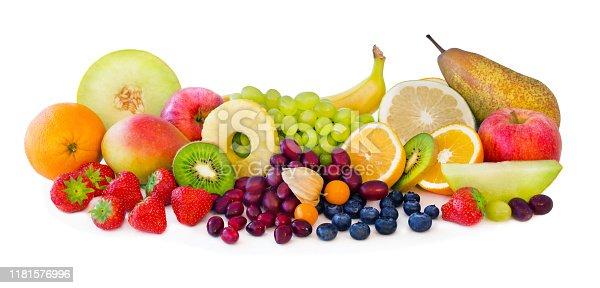 istock Various fresh fruits on white background 1181576996