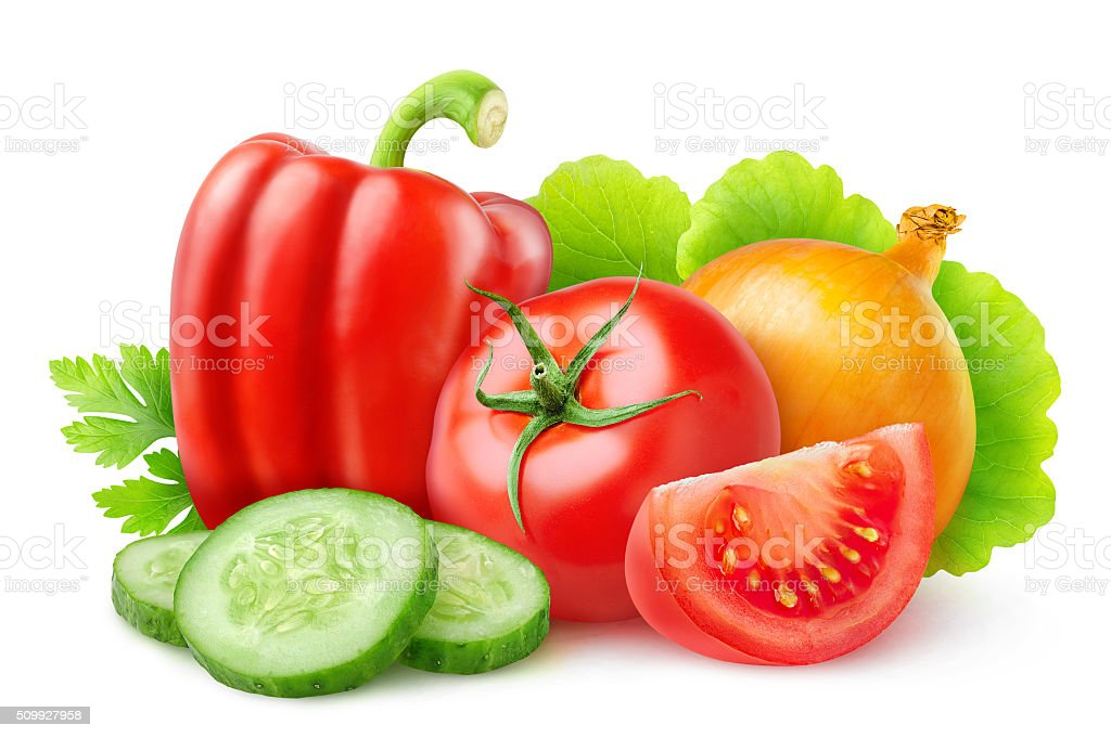 Various fresh vegetables isolated on white with clipping path stock photo
